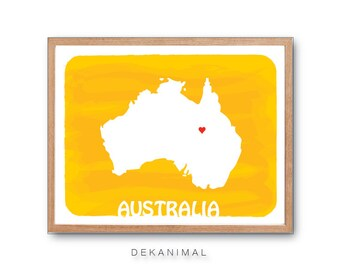 Australia Map - Personalized, Custom print, Watercolor Style , Love Map, Wedding GIft, home decor