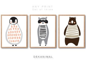 Nursery animal print set of 3, Penguin Print, Raccoon Print, Brown Bear Print, Woodland animal print, Woodland nursery decor