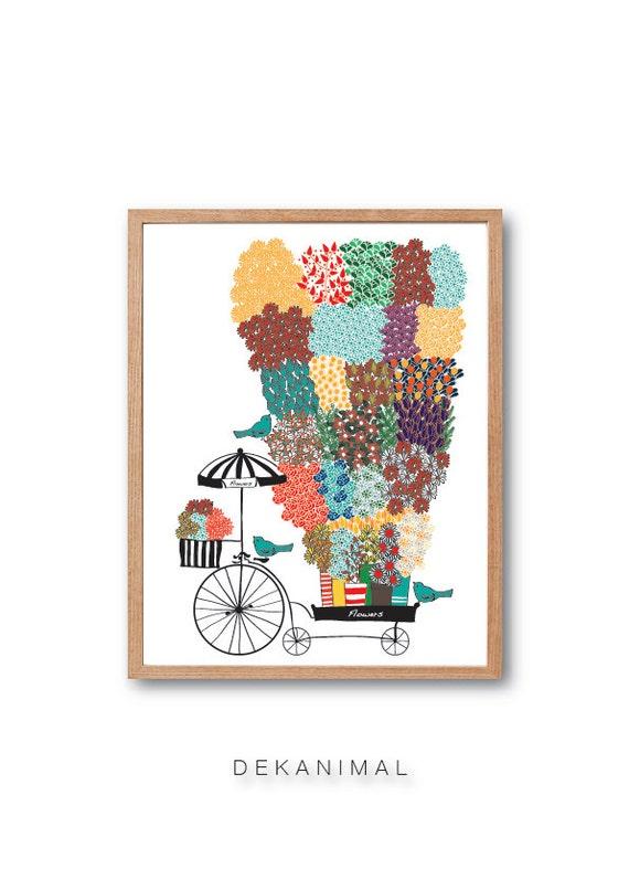 Flower Vendor Art Print, Botanical illustration, Botanical Art print, Floral Print, Flower Pattern, Children Room decor, Kids room art