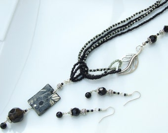 SET - Black/Grey Artist Bead Floral Clay, Bali Multi-Strand Pendant Necklace and Earrings
