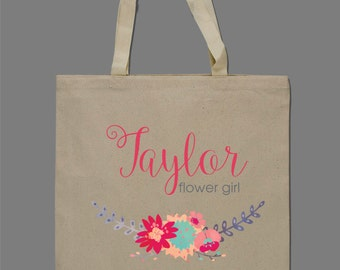 Personalized Flower Girl Watercolor Floral Tote Bag Beach Bag Bridesmaids Bag Brides Bag