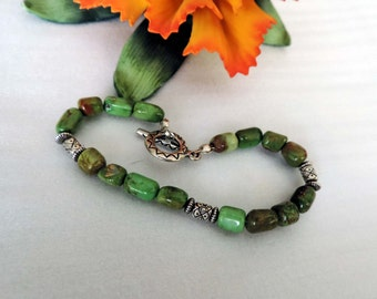 Beautiful  Green Turquoise Sterling Bracelet ,Rodeo, Southwest