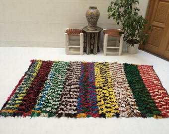 VINTAGE kilim Berber Moroccan RAG RUG 4x7 Azilal vintage Moroccan rug 100%  Beni Ourain tapis berber Handmade Moroccan rug