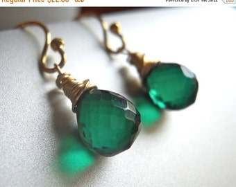 15% OFF ENDS TUESDAY, Deep Emerald Teenie Earrings, Sterling or gold filled, ball or lever back earring, Green quartz, Emerald Quartz