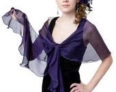 Promo Sale Dark Purple Evening Wrap. 100% silk iridescent chiffon