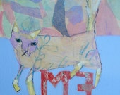 EMERY original painting 'meandering around me' outsider art folk expressionism cat self examination