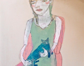 EMERY original painting 'she said blue just gets her' expressionism folk  outsider woman cat blue