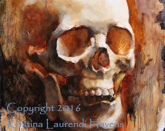 "Skull Original Oil Painting ""Amber Skull"" by Kristina Laurendi Havens"