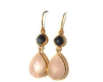 Sapphire and Pink Quartz long dangle drop earrings