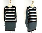 Vintage 70s Sonia Rykiel Green Wool Striped Sweater Dress