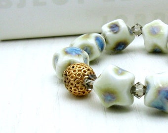 Pastel Star Beaded Bracelet with Crystal, Porcelain Blue and White Star Bracelet, For Her Under 100