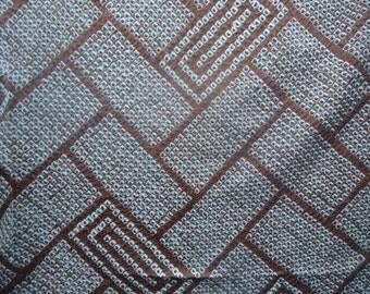 Shibori  Kimono Silk Fabric Copper/Bronze Geometric