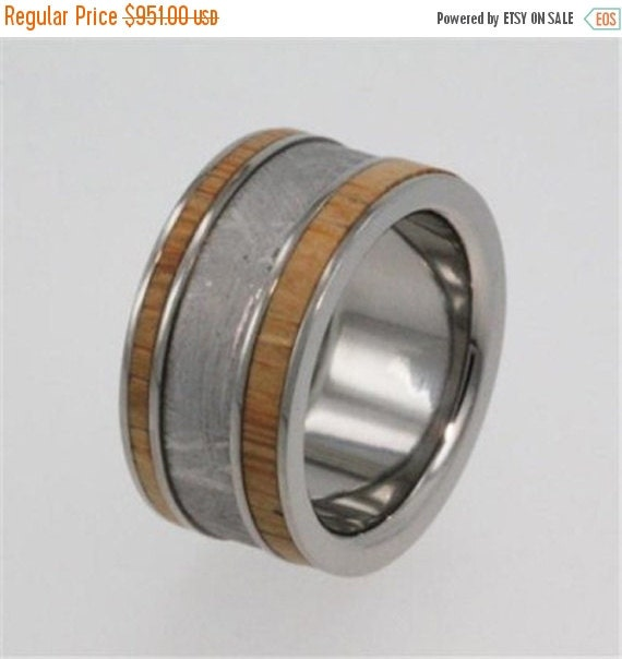 15% OFF Holiday Sale Interchangeable Bamboo Wood Ring, Meteorite Wedding Band, Titanium Pinstripes