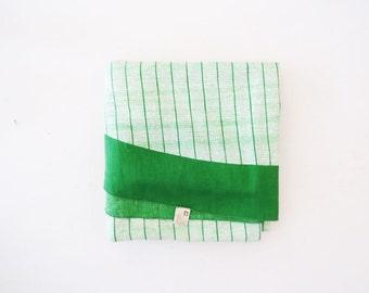 Anne Klein Cotton Tablecloth // Green Print Circular Table Cloth // Vintage Home Decor