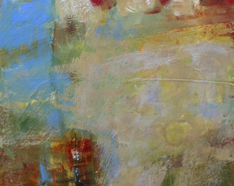 """MODERN ABSTRACT PAINTING """"Thrice"""" Original Art Acrylic on heavy paper mounted on 8"""" x 10"""" cradle board by Elizabeth Chapman"""