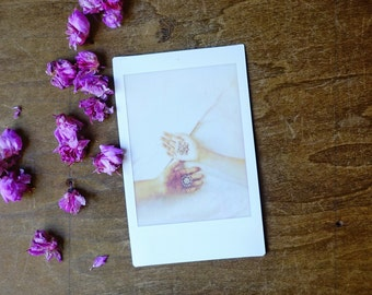 hands, instant film photograph, small collectible art, fine art photography, fuji instax, modern polaroid