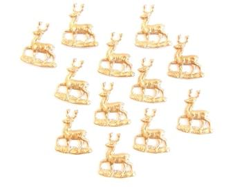 12 Very Small Brass Deer Stampings