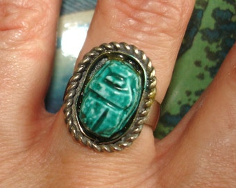 vintage turquoise green blue silver scarab beetle ring adjustable size 8