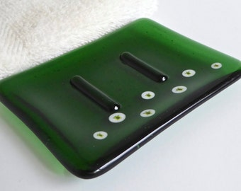 Green Fused Glass Soap Dish with Turtles