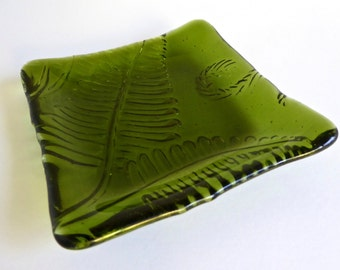Fern Green Fused Glass Fern Leaf Imprint Square Plate
