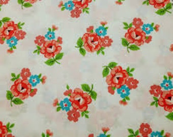 Windham BLOOM by Laurie Bird RARE OOP 1 Yard Precut Floral Toss on White