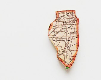 1915 Illinois Brooch - Pin / Unique Wearable History Gift Idea / Upcycled Antique Wood Jewelry / Timeless Gift Under 50