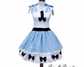 Summer Sale Alice in Wonderland Costume Styled Dress in Cotton