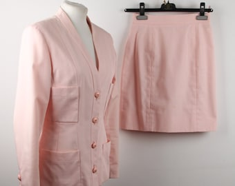 CHANEL Vintage Pink Cotton Suit Blazer Jacket & Pencil Skirt Size 36 fr ST