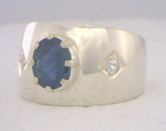 Blue Sapphire and White Sapphire Handmade Sterling Silver Gents Ring size 9.75