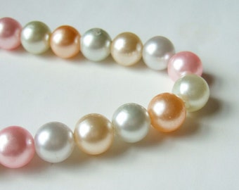1980s Pastel Pearls Bead Necklace - Vintage Necklace with Faux Pearls in Ice Cream Colours