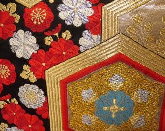 Fukuro obi S179,  black, red, gold