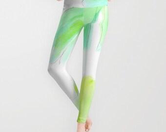 Watercolor Banana Leaf Leggings, Tropical Yoga Pants, Unique Fashion,Green White Yoga Leggings, Women,Teen Active Wear,Running Pants,Jogging
