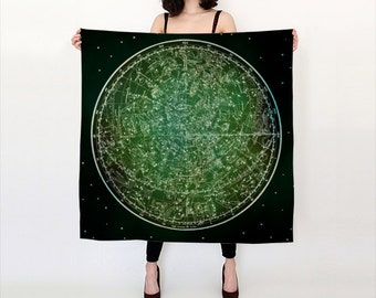 ZODIAC Habotai Silk Scarf, Fashion, Accessories, Vintage Map Silk Shawl, Women, Beach, Cover up, Starsigns, Astrology,Black Green Silk Scarf