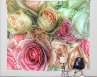 ROSES Pink and Cream Wall Tapestry, Flower Wall Art, Large Tapestry, Fine Art Photography, Nature, Floral Decor, Feminine, Dorm, Rosebuds
