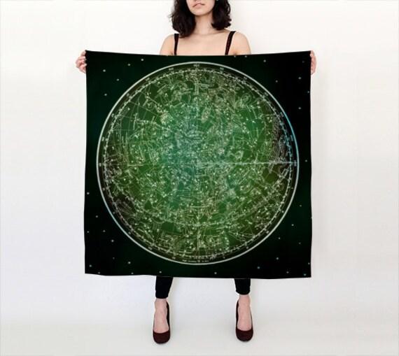 ZODIAC Habotai Silk Scarf, Fashion, Accessories, Vintage Map Silk Shawl, Women, Beach, Cover up, Starsigns, Astrology,Black Green Silk Scarf
