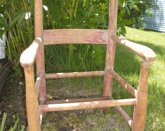 Small Vintage Wooden Chair Childrens Chair Antique Child's Chair Garden Decor