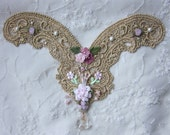 Handmade Gold Metallic Lace Pink Flower Beaded Tassel Embroidered Yoke Applique Necklace