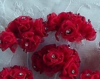 18 pc  Chic RED Organza Ribbon Wired Rose Flower w rhinestone Christmas Holiday Bridal Wedding Favor Bow Hair Accessory Applique