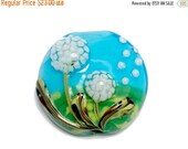 ON SALE 50% OFF New! 11838902 Dandelion Wishes Lentil Focal Bead - Handmade Glass Lampwork Bead