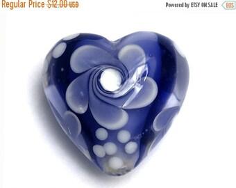 ON SALE 40% OFF Ink Blue w/White Heart Focal Bead - Handmade Glass Lampwork Bead 11811005