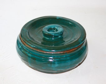 Shaving bowl Deep Turquoise Stoneware Made in Vermont A Green Item Rustic Gift for Him