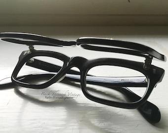 Flip Up Black 60's True Vintage Double Eyeglass Frames Hornrim Madmen Rare Sunglasses Eyeglasses Austria Variant