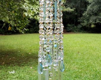 Antique Opalescent Crystal Wind Chime, Pastel Blue and Green Opal Wind Chime, Victorian Crystal Wind Chime, Garden Decoration, Home Decor