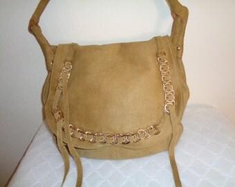 Thick full grain suede leather  large saddle bag, messenger bag,full flap purse, hipster bag  vintage 90s  camel tan clean gorgeous
