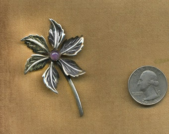 TAXCO Vintage Mexican STERLING AMETHYST Designer FloWER Pin