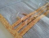 Circular Knitting Needle Case - Linen Knitting Needle Holder with Fun Mushroom Trim - Gift for Knitter