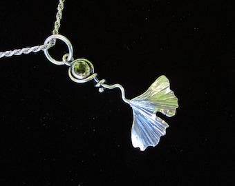 Sterling Silver Brutalist Large ginko Leaf with Lemon Quartz Pendant