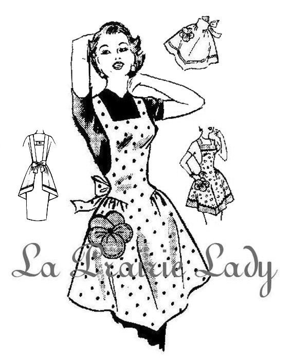 Repro Vintage Full and Half Apron 50's PDF Pattern No 5  Available in M-L-XL