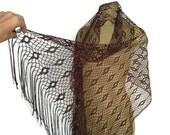 Brown Fringed Shawl, Open Weave Brown Shawl, Large Woven Wrap, Long Fringe Brown Wrap Shawl, Elegant Formal Vintage Shawl Layering Boho wrap