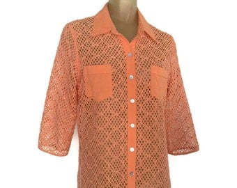 Orange Vintage Blouse, Open Weave See Through Boho Vintage Orange Mesh Blouse, Woven Tunic Blouse, Cropped Sleeves M Breezy Summer Blouse
